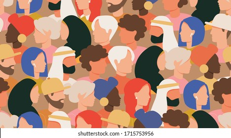 Crowd of people seamless vector pattern. Male and female faces profile portraits, people of different nationalities. Various characters, social protest demonstration Society or population. Flat