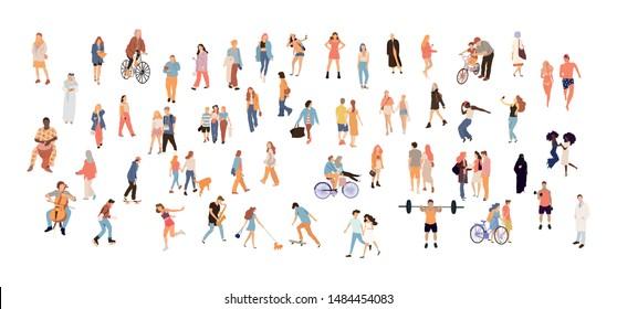 Crowd people set. Flat illustrated people big set - Vector