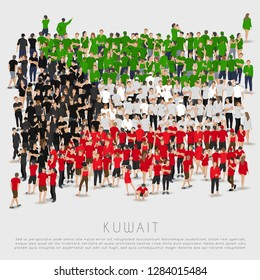 Crowd of people in shape of Kuwait flag : Vector Illustration