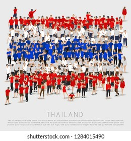 Crowd of people in shape of Thailand flag : Vector Illustration