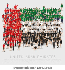 Crowd of people in shape of United Arab Emirates flag : Vector Illustration