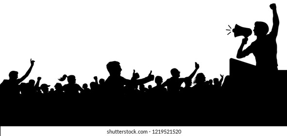 Crowd of people silhouette vector. Anonymous heads. Speaker, loudspeaker, orator, spokesman. Applause of a cheerful people mob. Sports fans. Demonstration, protest. Meeting of people