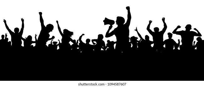 Crowd of people silhouette vector. Speaker, loudspeaker, orator, spokesman. Applause of a cheerful people mob. Sports fans. Demonstration, protest