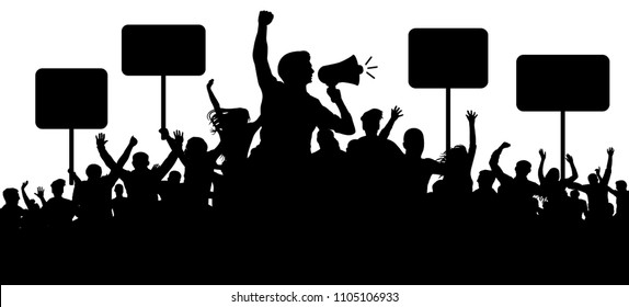 Crowd of people silhouette vector. Transparent, protest slogans. Speaker, loudspeaker, orator, spokesman. Applause of a cheerful people mob. Sports fans. Demonstration banner. Meeting of people