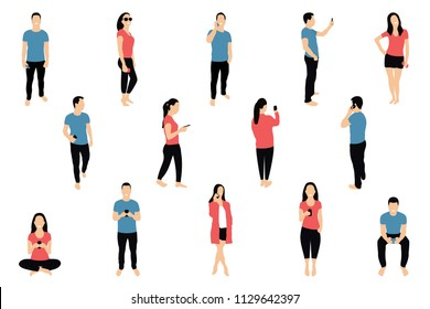 Crowd of people with smartphones. Men and women are using smartphones, texting, talking and taking selfie. Social network and messengers concept. Characters in flat isometric style. Vector