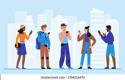 Crowd people with smartphones vector illustration. Cartoon flat man woman young characters standing in city street, holding mobile phone in hand, using cellphone in modern urban cityscape background
