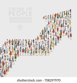Crowd of People Standing in The Shape of Arrow on White Background : Vector Illustration