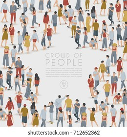 Crowd of People Standing in Star Shaped Frame on White Background : Vector Illustration - Shutterstock ID 712652362