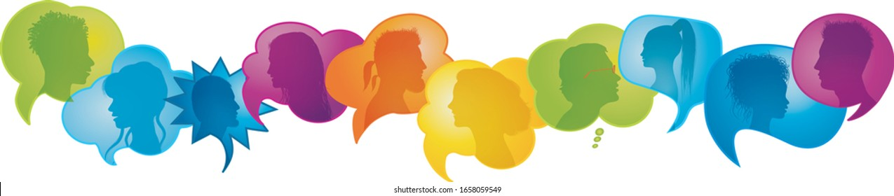 Crowd people talking.Diversity people.Multicultural population.Many multiethnic people who communicate speak and share ideas.Confusion and disorganization.Immigration.Globalization