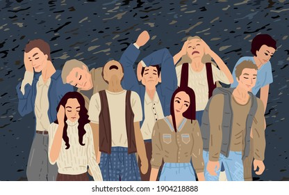 Crowd of people tired and stressed, psychological and mental personality disorders, depression and blues. Isolated people in pattern background. Men and women in different poses