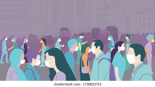 Crowd of people walking during a covid-19 pandemic on city streets conceptual flat art illustration. - Shutterstock ID 1730823751