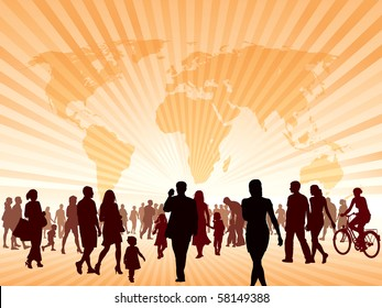 Crowd of people walking. People are going to the new better world.