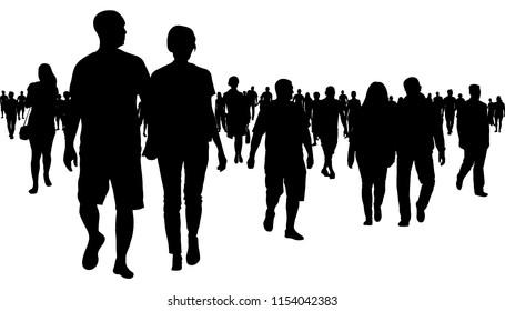 Crowd of people walking silhouette