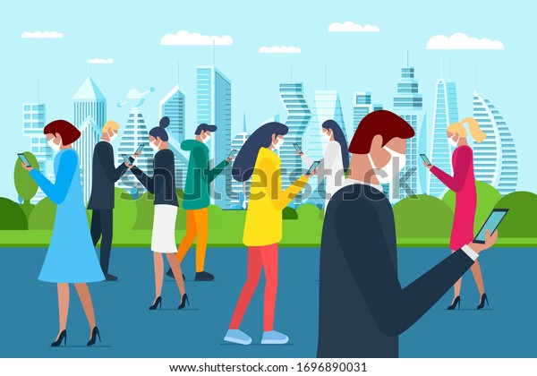 Crowd people walking in white medical protective face mask on city park and using smartphones. Protecting airborne corona virus epidemic infection or air pollution concept flat vector eps illustration
