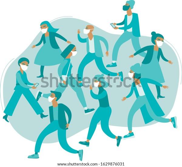Crowd of people wearing protective medical masks. COVID-19 coronaviruspandemiaconcept. flat vector illustration