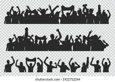 Crowd peoples silhouettes vector constructor set isolated on a transparent background.