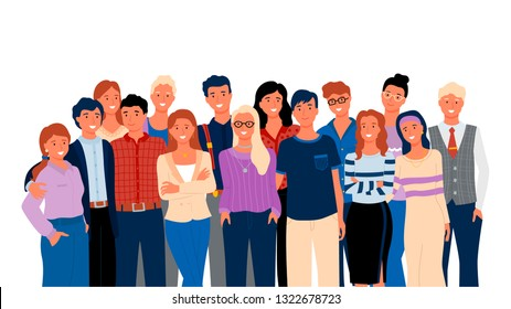 Crowd posing together, group portrait view, smiling people in casual clothes, hugging men and women. Embracing friends or relatives, meeting vector