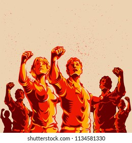 Crowd protest fist revolution poster design. Propaganda Background Style.