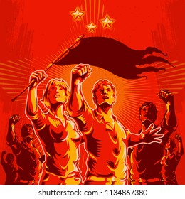 Crowd protest fist revolution poster design. Men and women leader in front of a crowd. Propaganda Background Style.