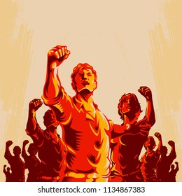 Crowd protest fist revolution poster design. Man leader in front of a crowd. Propaganda Background Style.