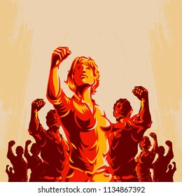 Crowd protest fist revolution poster design. Women leader in front of a crowd. Propaganda Background Style.