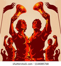 Crowd protest fist revolution poster design. Man and Women leader in front of a crowd holding megaphone. Propaganda Background Style.