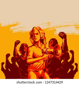 Crowd protest fist revolution poster design. Women leader in front of a crowd holding megaphone. Propaganda Background Style.