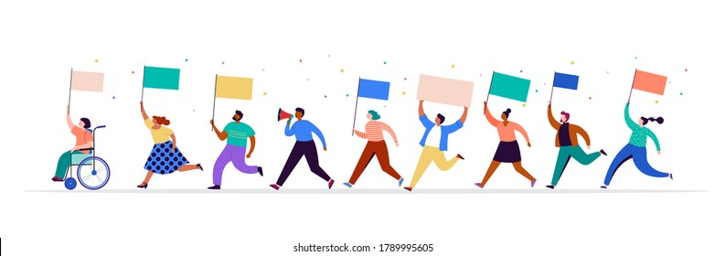 Crowd of protesters holding banners and placards. Political meeting, march, demonstration, parade. Group of men and women activists. Vector illustration