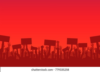 Crowd of protesters people. Silhouettes of people with banners and megaphones. Concept of revolution or protest. Vector
