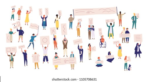 Crowd of protesting people holding banners and placards. Men and women taking part in political meeting, parade or rally. Group of male and female protesters or activists. Vector illustration.
