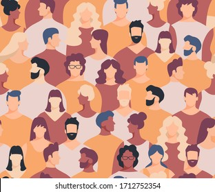 Crowd seamless pattern. Crowd of people seamless background