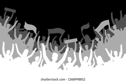 Crowd silhouette background. Soccer fan people baseball basketball football handball hockey audience tribune. Vector concert banner hall bleachers