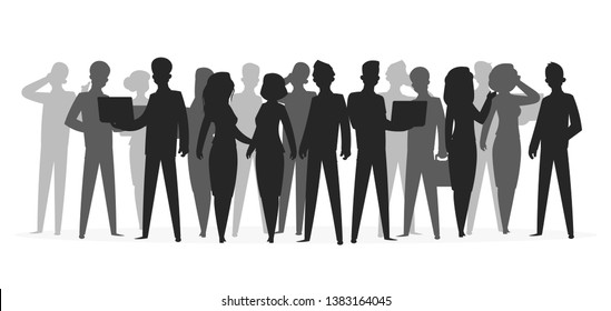 Crowd silhouette. People group shadow young friend school boy large crowd business people silhouettes. Vector illustration black shapes