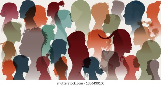 Crowd. Silhouette side group of men women girl of diverse cultures. Diversity multi-ethnic people. Racial equality and anti-racism. Multicultural and multiracial society. Allyship. Race