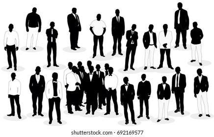 Crowd of silhouettes of men business vector, isolated