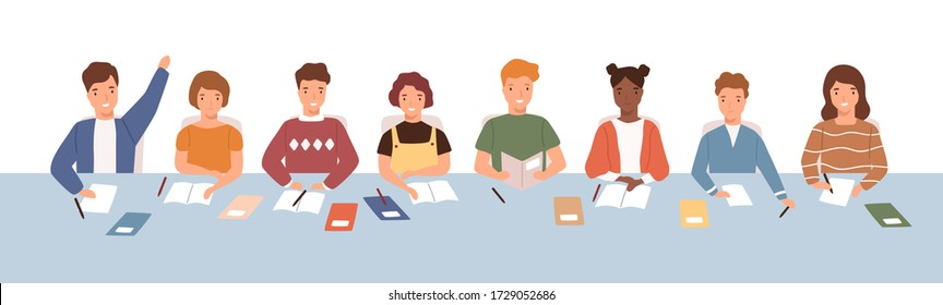 Crowd of smiling diverse kids sitting at common desk on lesson vector flat illustration. Pupil studying together answer to question and listen isolated on white. Boys and girls at elementary school