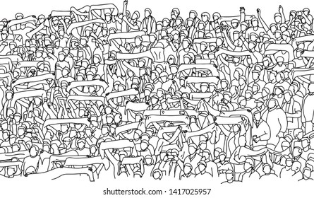 Menge Fußballfan, die auf StadionVektorgrafik mit schwarzen Linien einzeln auf weißem Hintergrund jubelt