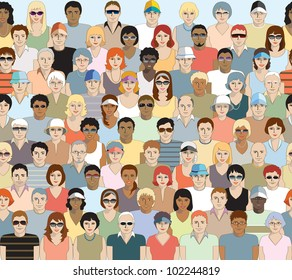 Crowd of sports spectators. Seamless. Repeats horizontally and can be stacked vertically to make a bigger crowd. One row per layer with individuals neatly grouped for easy editing. No transparencies.