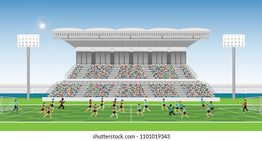 Crowd in stadium grandstand to cheering football match team players sport championship, soccer man players in action, vector illustration.