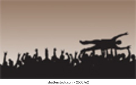 Crowd Surfing Silhouette Vector rockin' out with slayers.