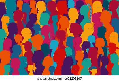 Crowd talking.Dialogue and communication between group of diverse multiethnic and multicultural people.Silhouette of colored profile. Population.Sharing ideas and thoughts.Community