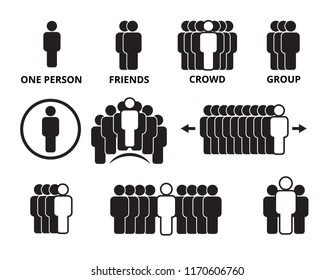 crowd team symbols. business people figures group persons office signs human vector black icons isolated