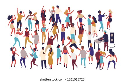 Crowd of tiny people dancing on dance floor at night club isolated on white background. Happy of men and women having fun at party or music festival. Colored vector illustration in flat cartoon style