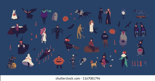 Crowd of tiny people dressed in various Halloween costumes isolated on dark background. Male and female cartoon characters at party or masquerade ball. Colorful vector illustration in flat style.