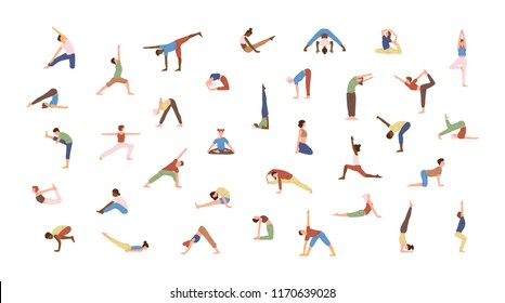 Crowd of tiny people performing yoga exercises. Men and women practicing Asana isolated on white background. Spiritual practice and physical activity. Flat cartoon colored vector illustration.