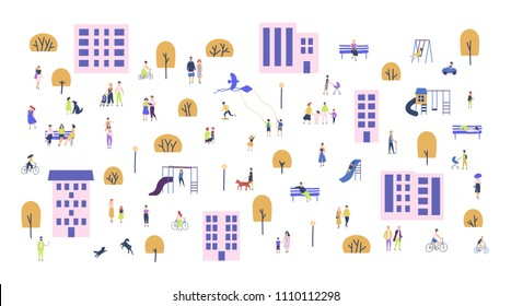 Crowd of tiny people walking with children or dogs, riding bicycles, sitting on bench in city suburbs. Cartoon men and women performing outdoor activities on suburban street. Vector illustration.
