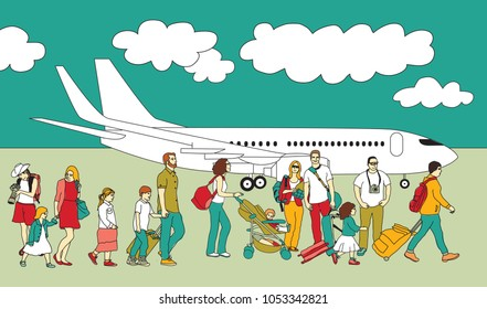 Crowd travel walking people family plane and sky.