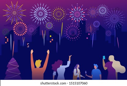 crowd watching firework and celebratin new year eve vector concept group of people having fun at night illustration can use for, landing page, template, ui, web, mobile app, poster, banner, flyer