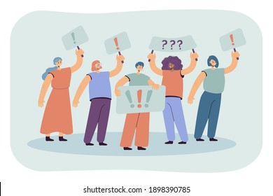 Crowd of women holding placards and protesting isolated flat vector illustration. Cartoon political female activists on mass meeting or rally. Feminism and fight for rights concept