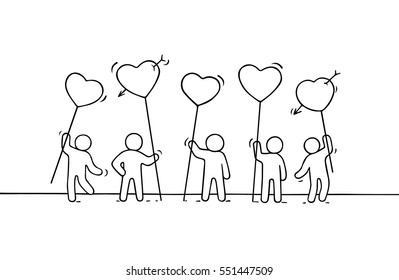 Crowd of working little people with heart sings. Doodle cute miniature about love. Hand drawn cartoon vector illustration for romantic and web design.